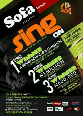 "N2.5 Million & More Up For Grab, AsSOFA LOUNGE Presents ""SING ON"""