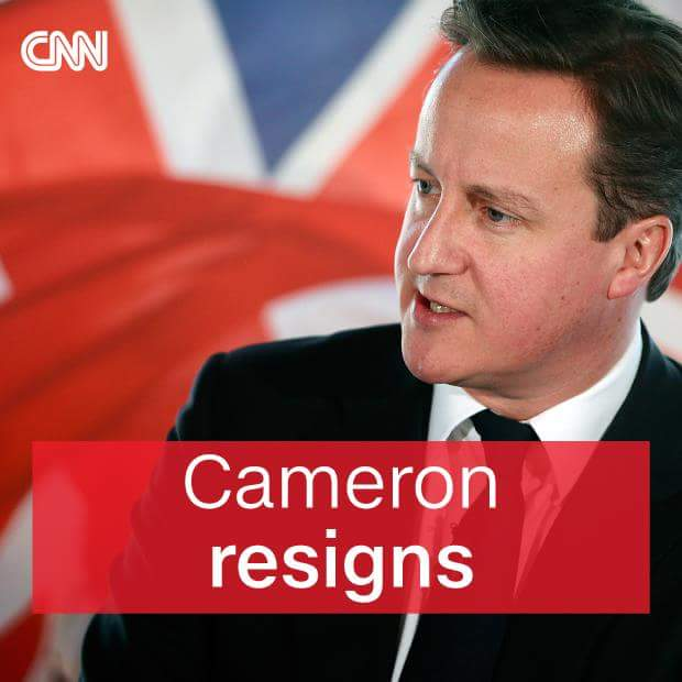BREAKING NEWS: David Cameron announces resignation as Prime Minister following UK vote to leave EU