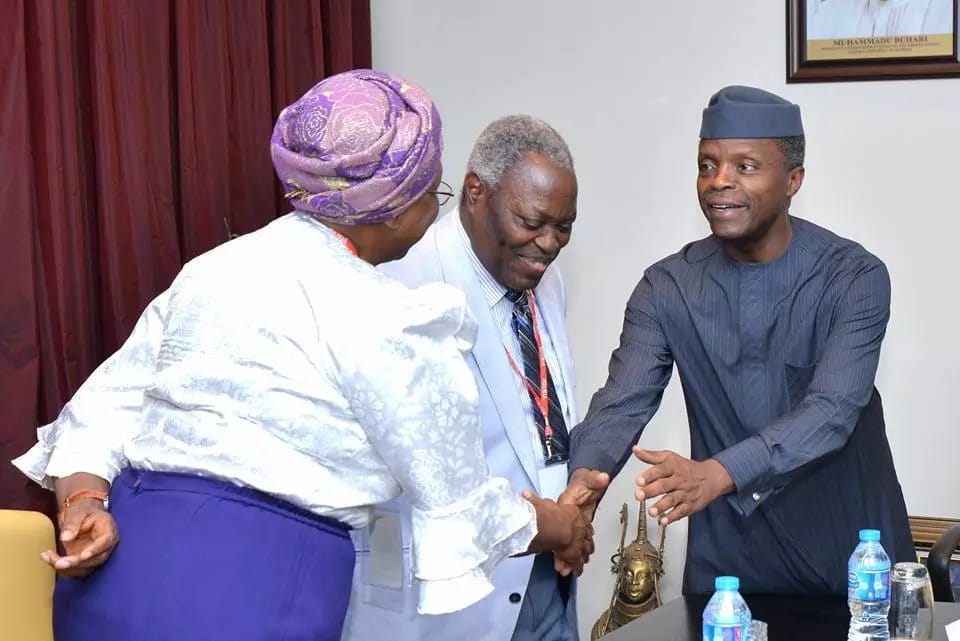 Pastor W.F Kumuyi All Smiles As He Meets With Osinbajo At The Presidential Villa.