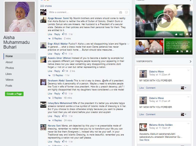 Northerners On Facebook criticise Aisha Buhari's outfit to Washington (Screenshot)
