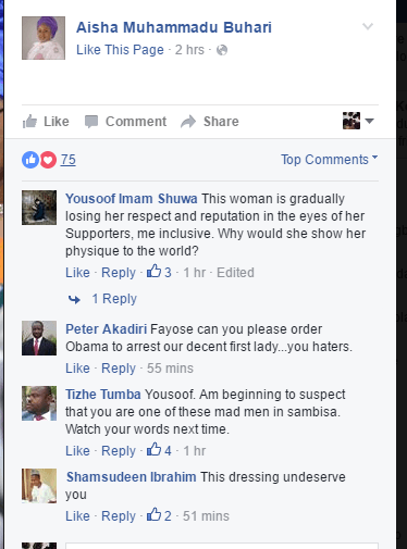 Northerners On Facebook criticise Aisha Buhari's outfit to Washington (Screenshot)