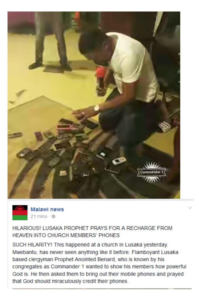 Pastor Prays For Recharge Cards From Heaven Into His Members Phones