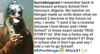 I Want To Be A Rockstar Because I Love Music – BurnaBoy Recounts Childhood Dreams