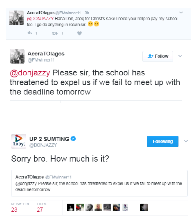 Donjazzy blesses Twitter follower with 95k