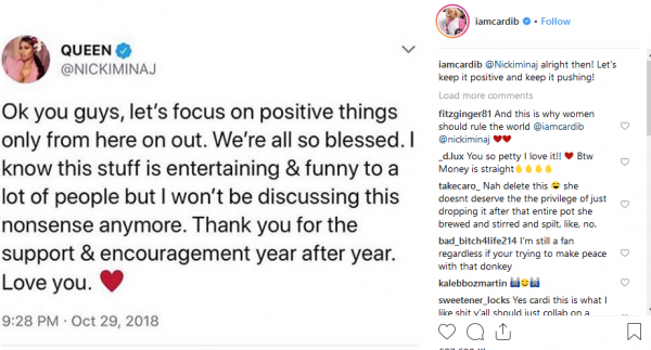 Nicki Minaj and Cardi B end feud