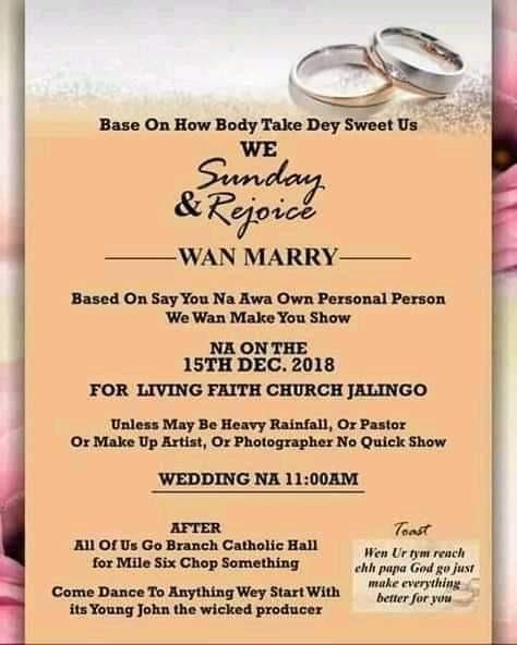 This Viral Wedding Invitation Card Written In Pidgin English