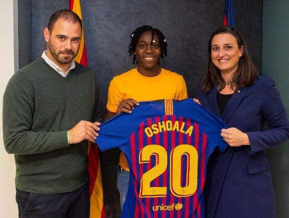 Super Falcons star, Asisat Oshoala joins FC Barcelona (Photos)