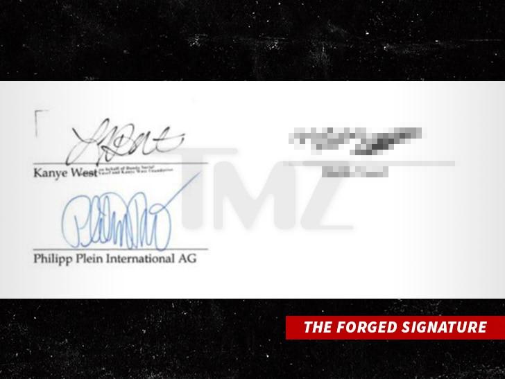 Kanye West signature forged in 0k Philipp Plein Scam (Photo)