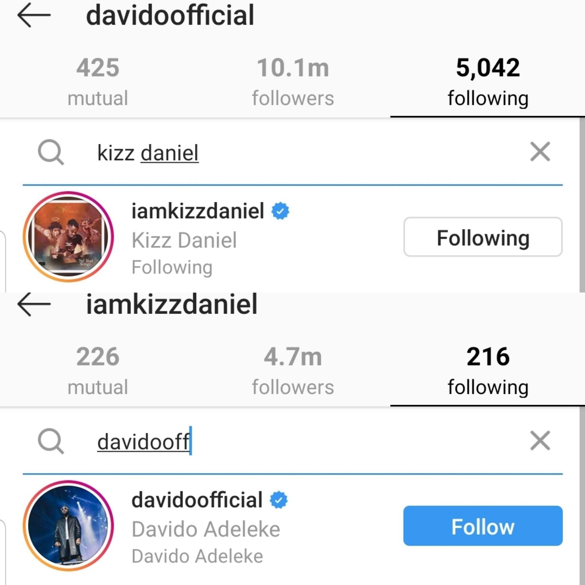 Beef Squashed? Kizz Daniel & Davido Refollow Each Other on Instagram