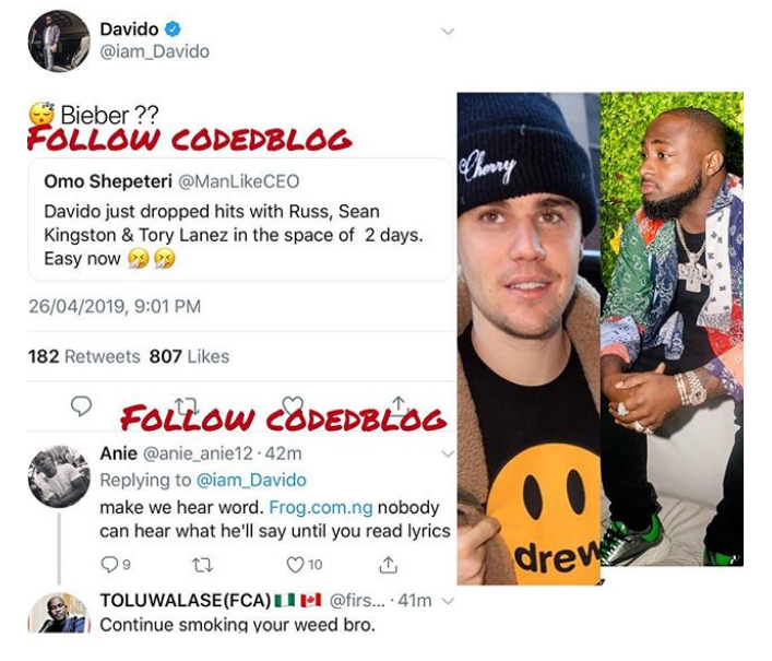 Davido & American Singer; Justin Bieber Set To Work Together On New Song