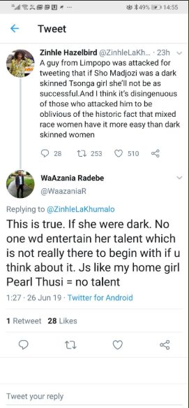 Pearl Thusi drags twitter troll who claimed she has no talent
