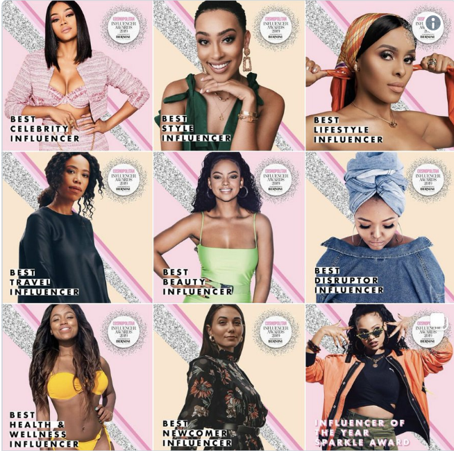 See Full Winners List: Bonang, Sarah, Mihlali, and Kefilwe bag Cosmopolitan Influencer SA awards 2019