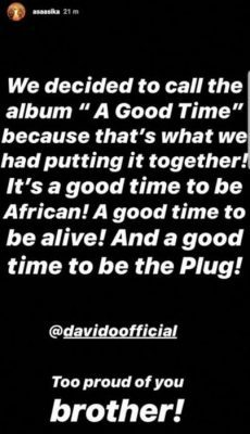 """Davido Reveals The Name Of His Forthcoming Album """"A Good Time""""   Details"""