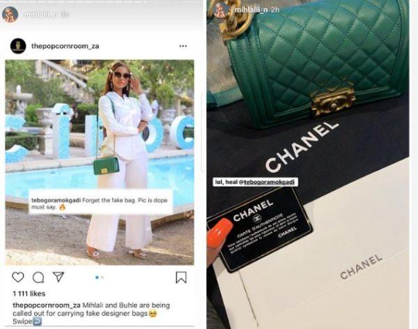 Mihlali slams claim on fake Chanel bag