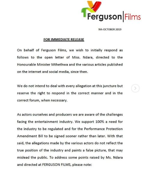 Connie and Shona Ferguson's official response to Vatiswa Ndara's allegations