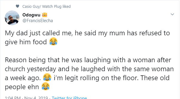 Man in stitches after his father called to report that his mother wouldn't give him food because she saw him laughing with another woman
