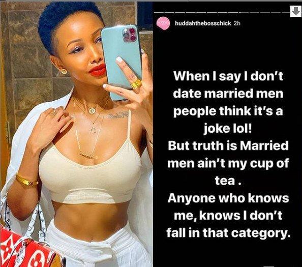 I don't date married men – Huddah Monroe