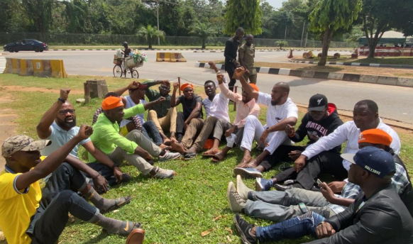 They have refused to release Sowore to us – Deji Adeyanju, other activists stage protest at DSS office (photos)