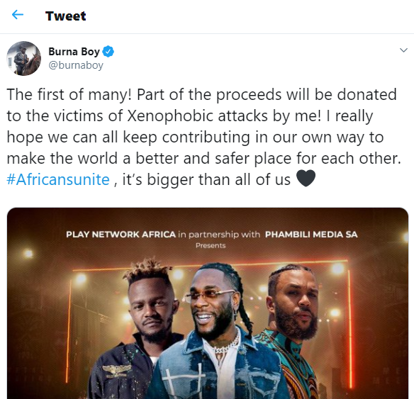 Xenophobia: Burna Boy confirms he'll perform in South Africa this month