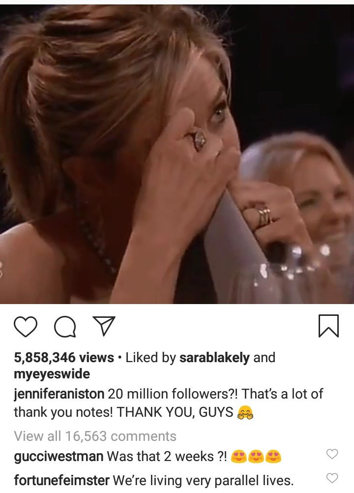 Jennifer Aniston celebrates reaching 20 million Instagram followers just one month after joining