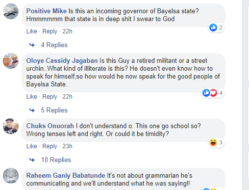 Nigerians react to video of Bayelsa-state governor elect, David Lyon, speaking wrong English