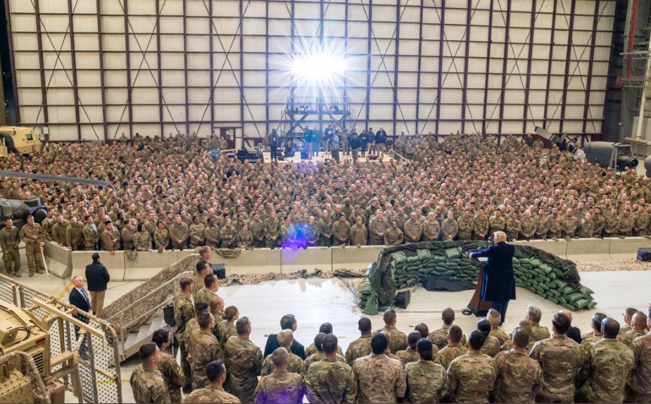 Photos from President Trump's surprise visit to US troops in Afghanistan where he spent Thanksgiving