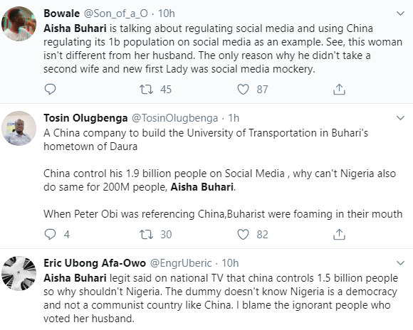 Dear Aisha, China also kill their corrupt public officials, can you advocate for that to be in our laws?- Nigerians tackle Mrs Buhari over her support for social media regulation