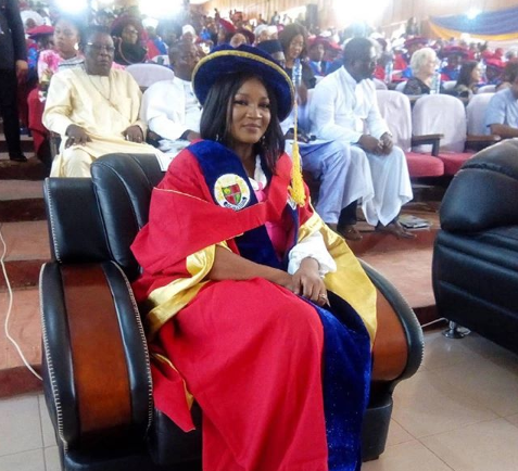 Nollywood actress, Omotola Jalade honoured with a Doctoratedegree by Igbinedion University (Photo)