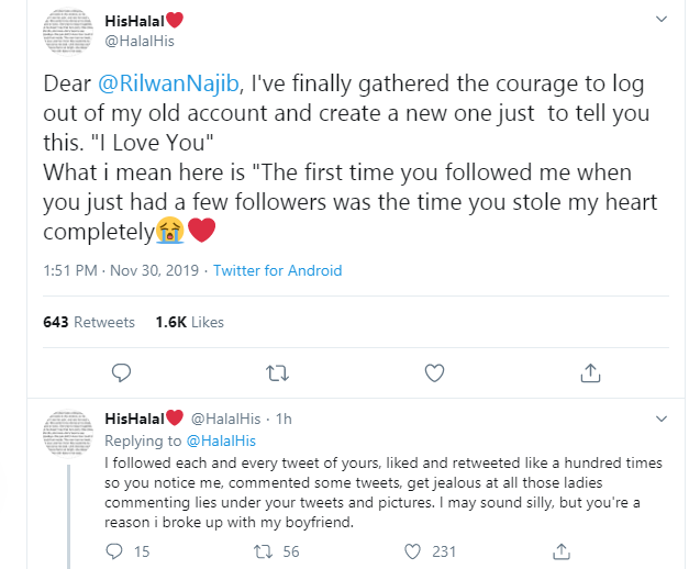 Nigerian lady shoots her shots at her crush on Twitter and he responds