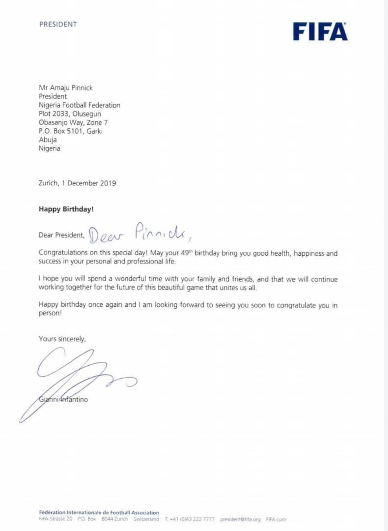 FIFA president, Gianni Infantino, congratulates NFF president, Amaju Pinnick, as he turns 49th