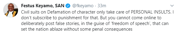 """You can't be intolerant and ask others to be"" Festus Keyamo tells Nigerians opposed to the Social media bill who block people insulting them online"