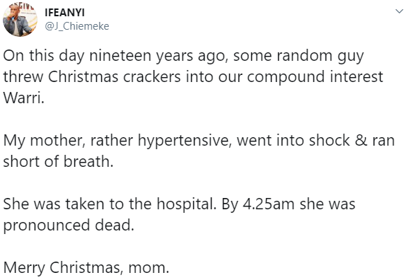 Twitter stories: Nigerian man recounts how his mum died from shock on Christmas day after a guy threw fireworks into their compound