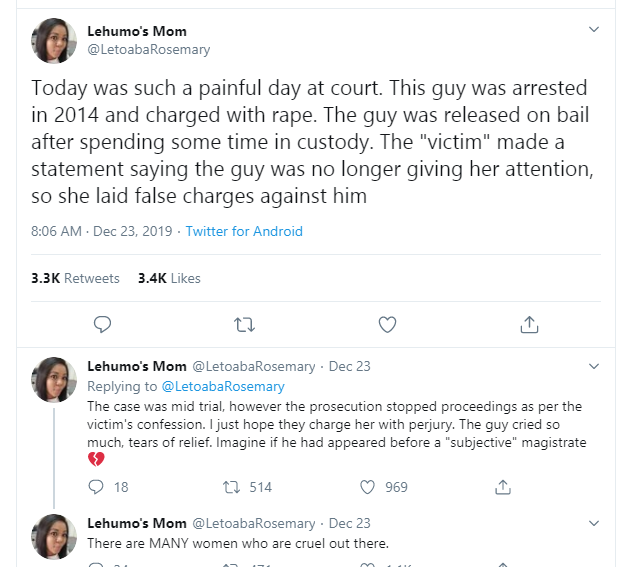 Twitter Stories: Lady Who Falsely Accused Her Male Friend
