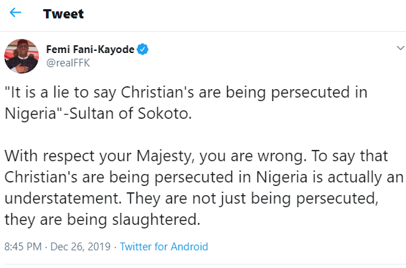 Christiansare not just being persecuted, they are being slaughtered – FFK tells Sultan of Sokoto