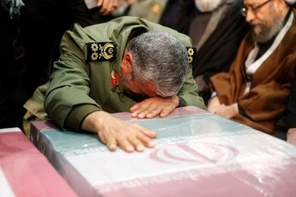 Our revenge against US is a God given promise – Military successor to killed Gen. Soleimani says while weeping over his coffin during funeral