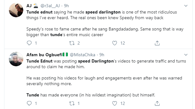 Speed Darlington threatens to tie Tunde Ednut's future and get him deported for claiming he made him popular. Nigerians react