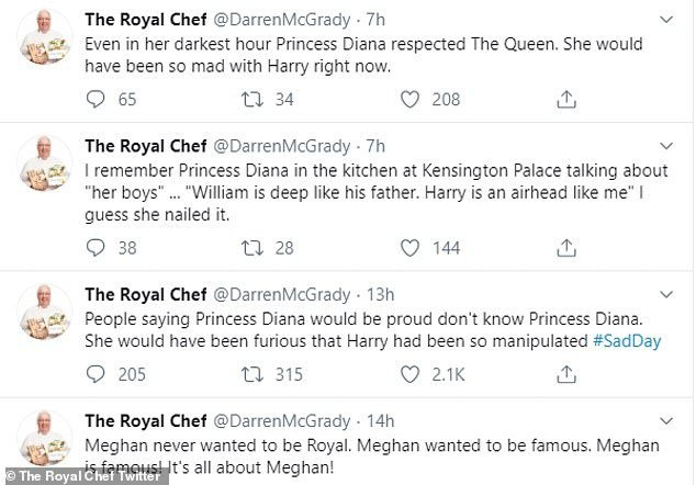 Queen's ex-chef launches scathing attack at 'fame-hungry' Meghan Markle and 'airhead' Prince Harry over their decision to 'step back' from royal duties.