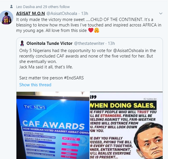 'It only made the victory more sweet '- Super Falcon star, Asisat Oshoala reacts after Nigerian officials didn't vote for her to win the CAF Award