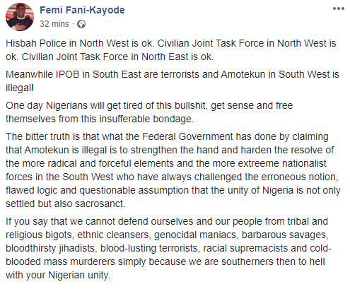 """Hisbah police is ok but Amotekun is illegal""- FFK tackles FG on decision to label South West security outfit an illegal organization"