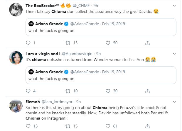 5e22d31845a528428058131812541555 - Screenshots: Nigerians And Governors React To Davido And Chioma Unfollowing Each Other On Instagram