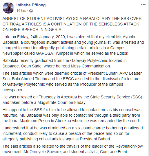DSS allegedly arrest and detain journalist for publishing articles criticizing Buhari, Tinubu, EFCC