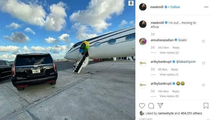 Meek Mill Says He's Moving To Africa, Packs His Baggage (Read Details)