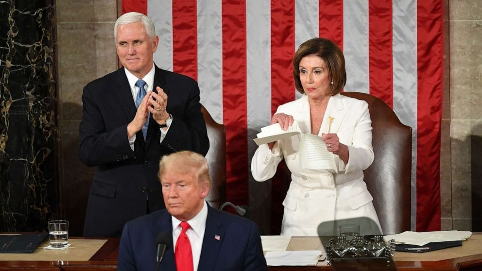 Nancy Pelosi rips up a printed copy of Trump's State of the Union address