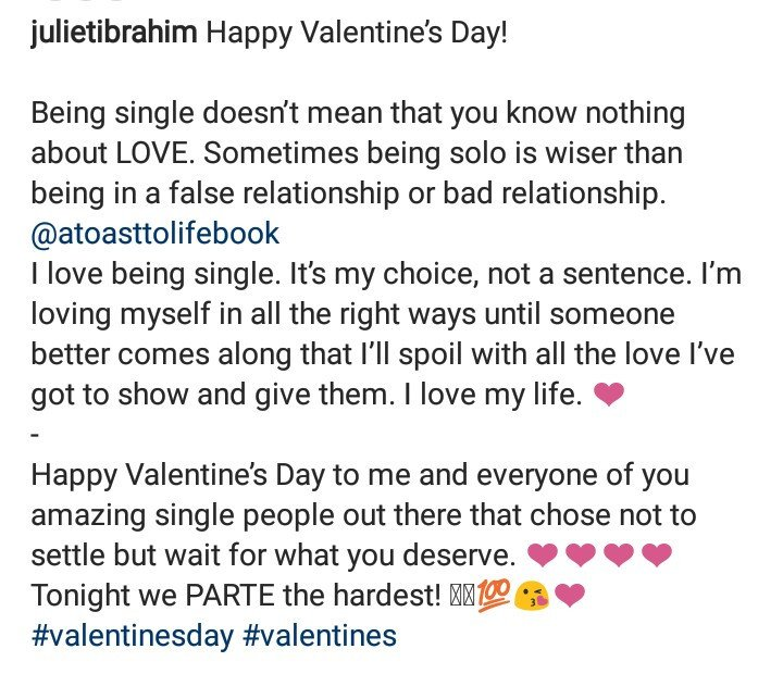 """I love being single. It's my choice, not a sentence"" Juliet Ibrahim says in Valentine's Day message"