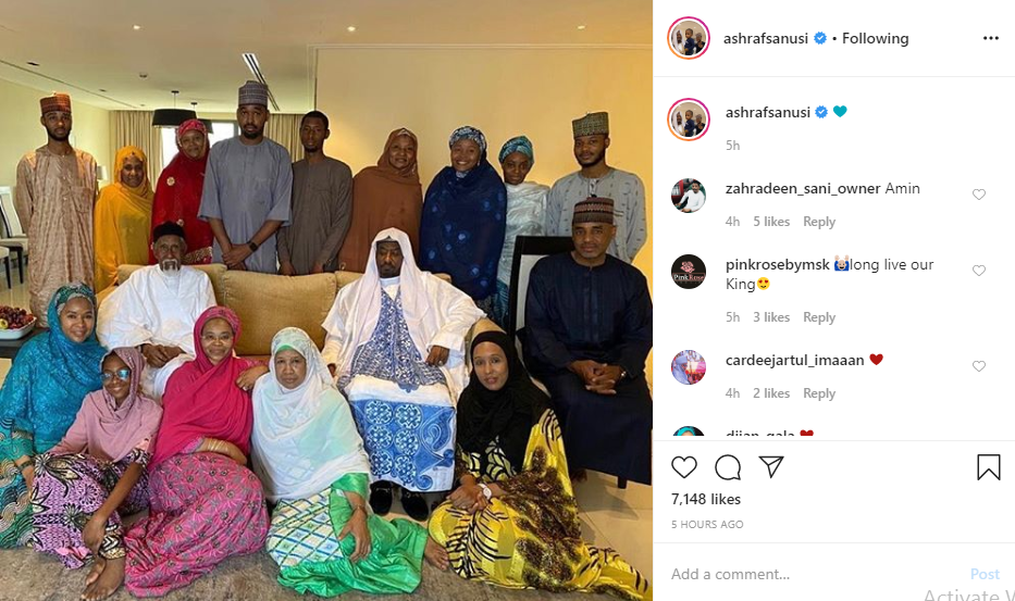 Sanusi's son, Ashraf shares family portrait after father's dethronement