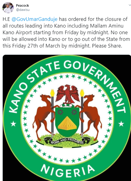 Kano state government closes all borders as Coronavirus rises to 51 cases in Nigeria