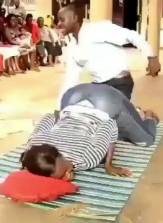 Watch Pastor Use Woman For Practical As He Teaches Adult Education In Church (Photos)