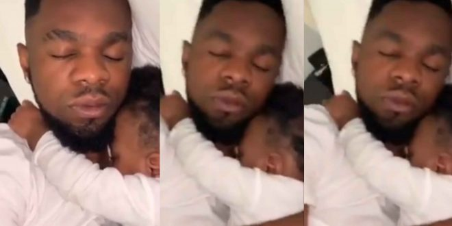Patoranking shares adorable video of himself sleeping with his daughter Wilmer (video)