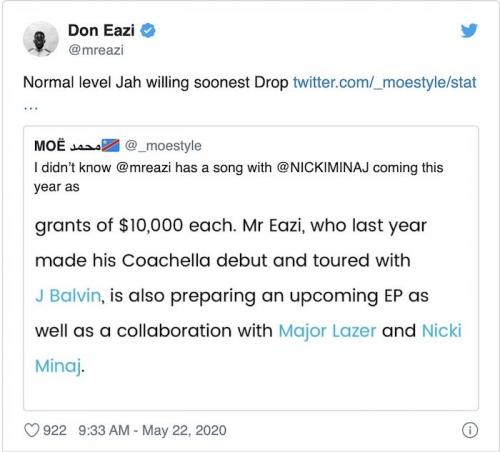 Mr Eazi Announces Collaboration With Nicki Minaj and Major Lazer