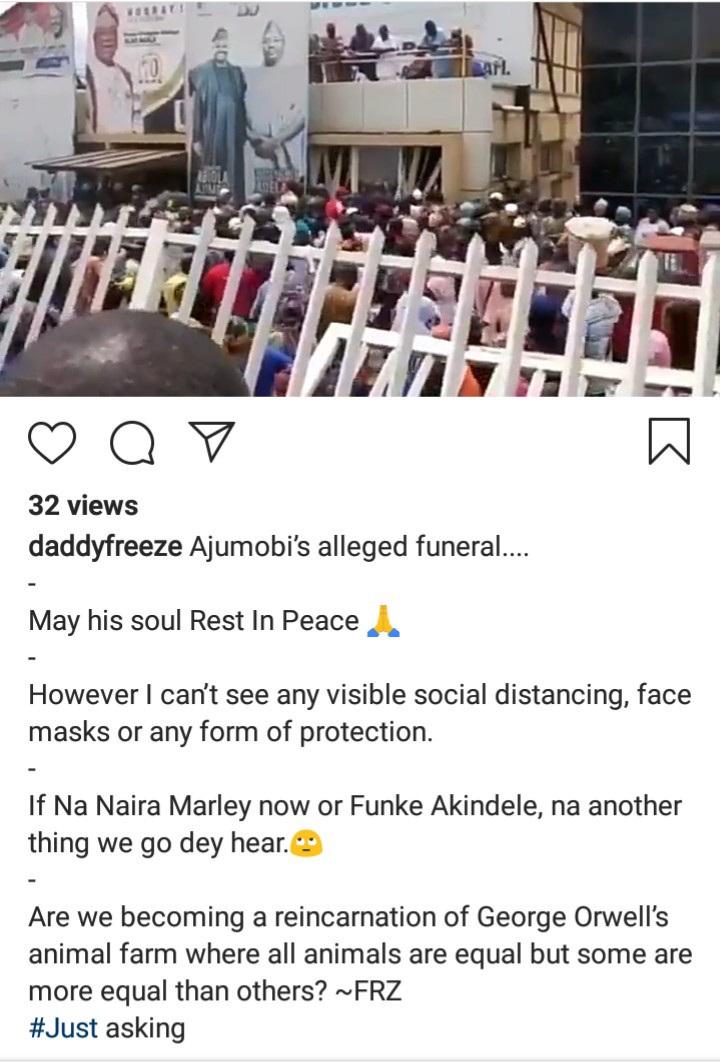 Daddy Freeze reacts to the lack of social distancing at Abiola Ajimobi's funeral (video)